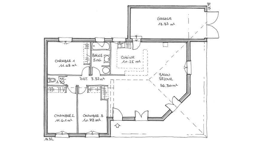 Plan de villa jasmin villas c t sud constructeur de for Plan de maison cote